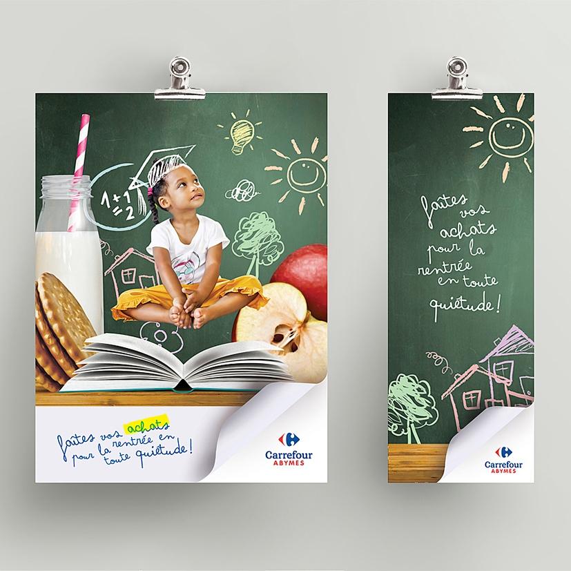 Affiche mockup Carrefour Abymes Milenis rentrée alimentaire Guadeloupe