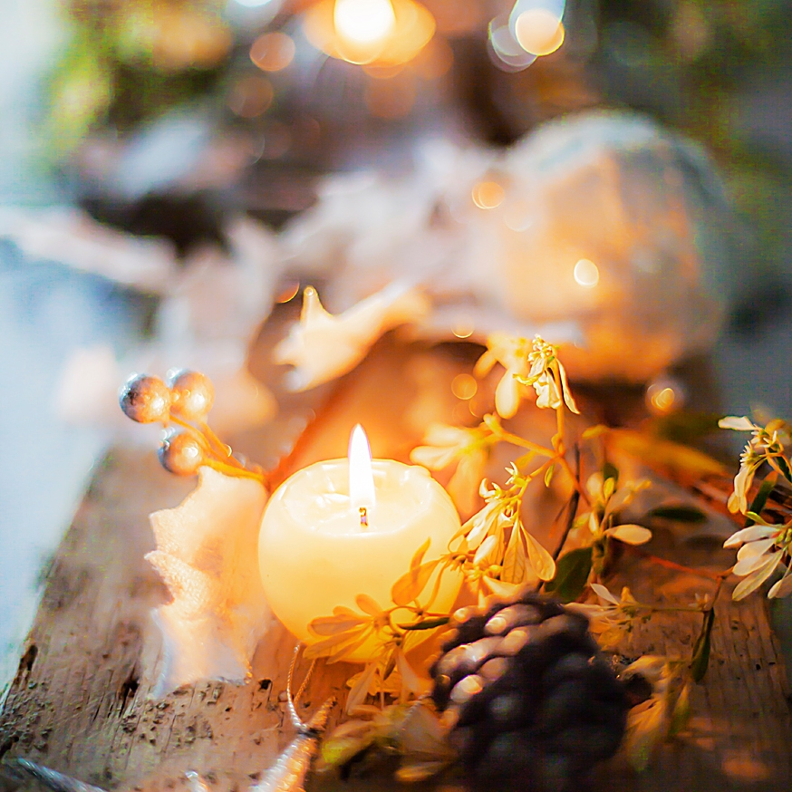 Table noël bougies lumière